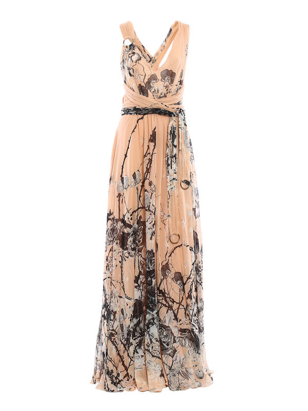 Roberto Cavalli - Floral print long silk dress - evening dresses ...