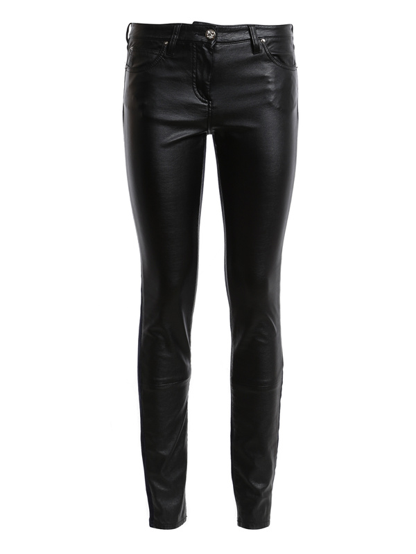 Roberto Cavalli: skinny jeans - Leather front jeans