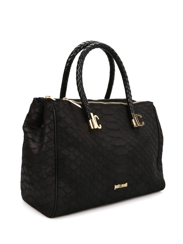 Roberto Cavalli: totes bags online - Python print leather tote
