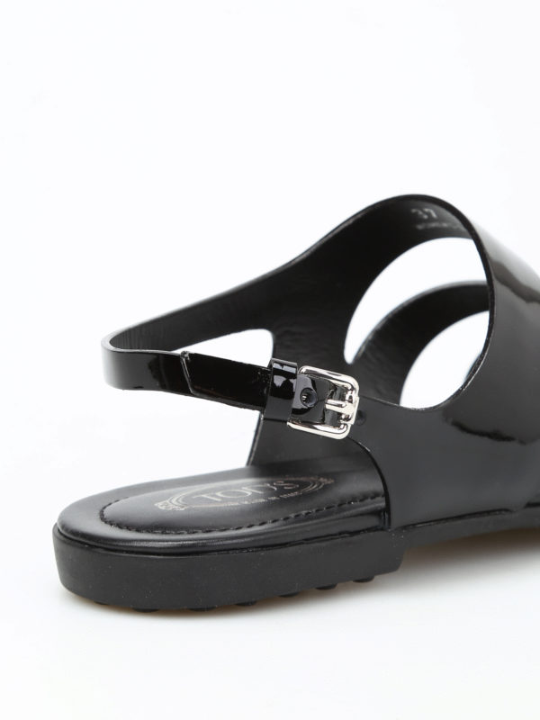 Rubberized leather sandals shop online: Tod