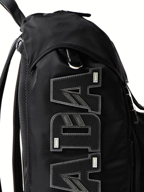 459c3cf4bec1 Prada - Saffiano logo patch nylon backpack - backpacks ...