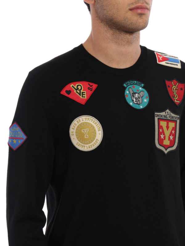 Saint Laurent buy online Rundhalspullover - Gemustert