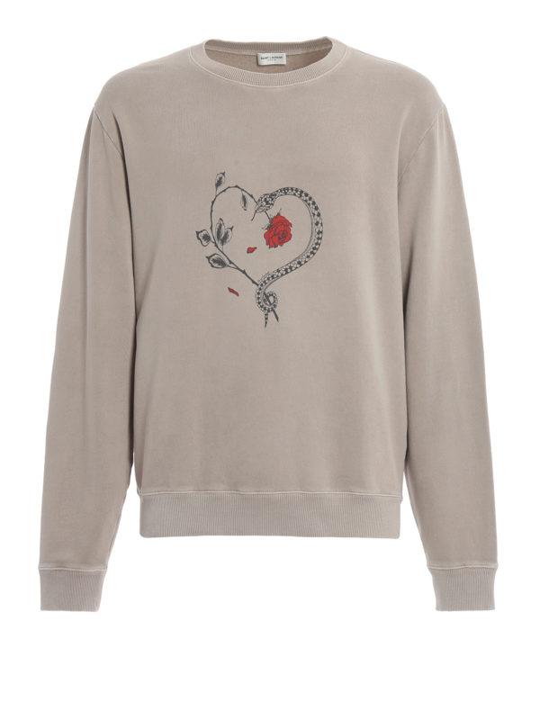 SAINT LAURENT: Sweatshirts und Pullover - Sweatshirt - Beige