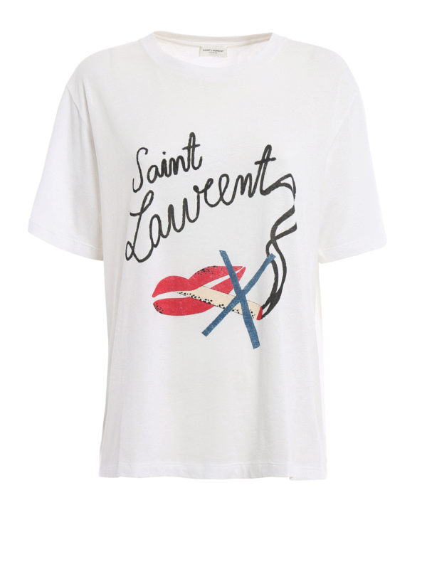 Saint Laurent: T-shirts - T-Shirt - Weiß