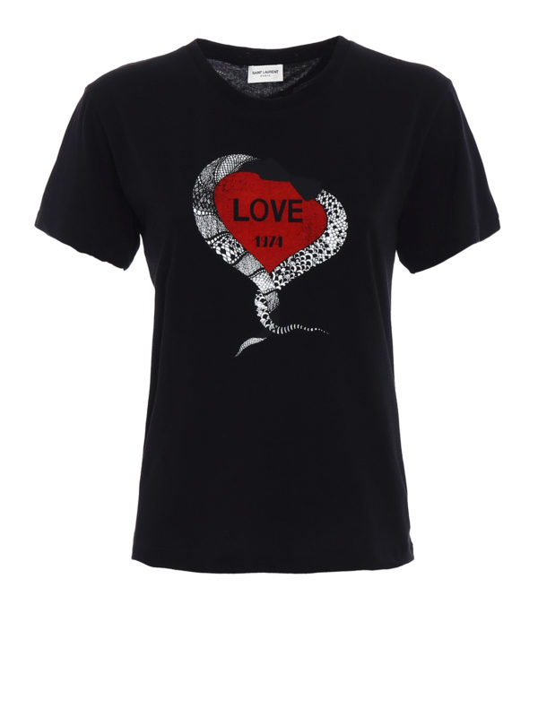 Saint Laurent: T-shirts - T-Shirt - Schwarz