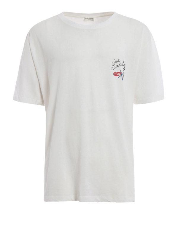 Saint Laurent: T-shirts - T-Shirt - Gemustert