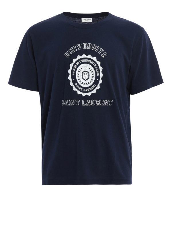 Saint Laurent: T-shirts - T-Shirt - Dunkelblau