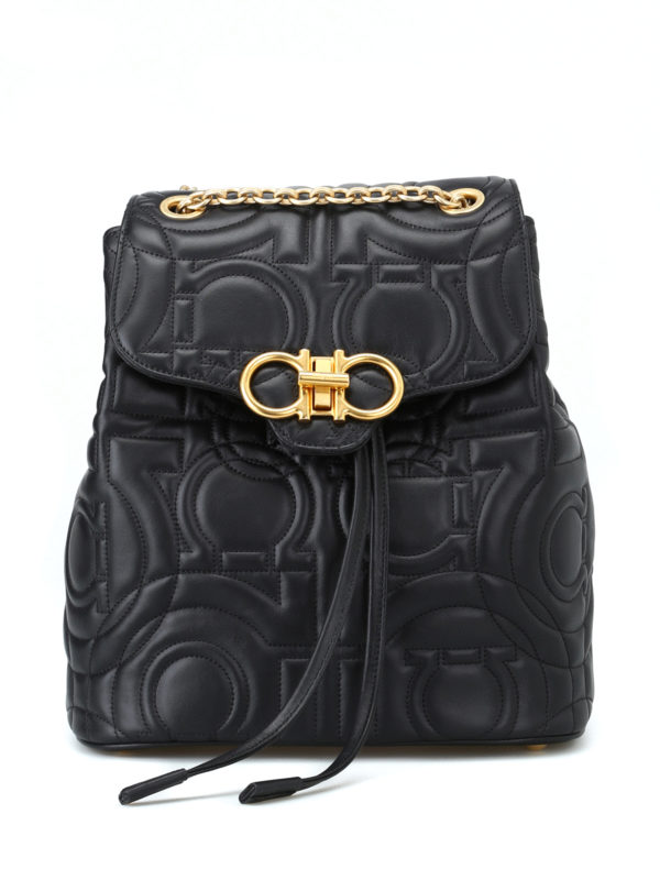 SALVATORE FERRAGAMO: backpacks - Gancini quilted small backpack
