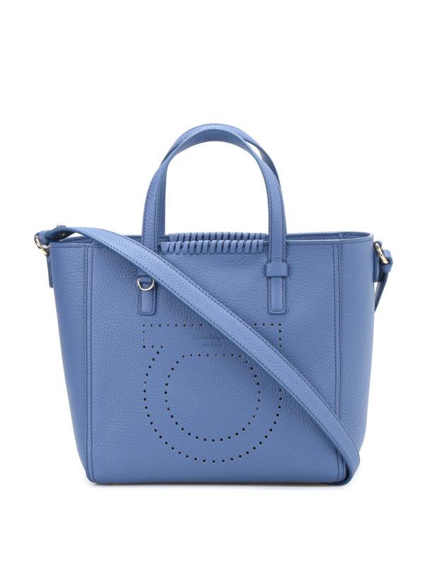 Salvatore Ferragamo: Handtaschen - Shopper - Hellblau