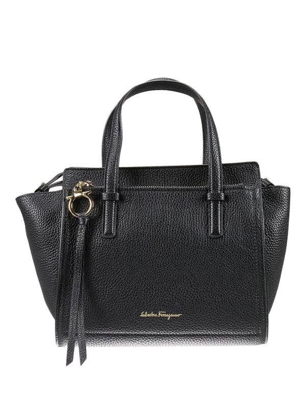 Black hammered leather bag Salvatore Ferragamo 7SHi4IU