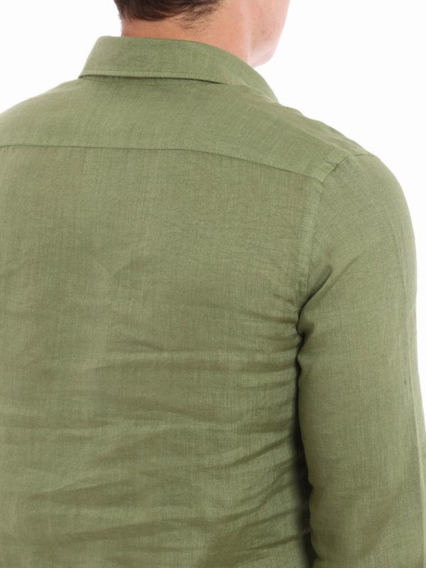 shirts shop online Linen polo-inspired shirt
