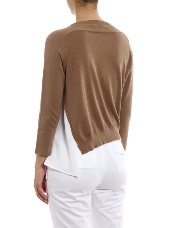 Silk panelled cotton sweater shop online: FABIANA FILIPPI