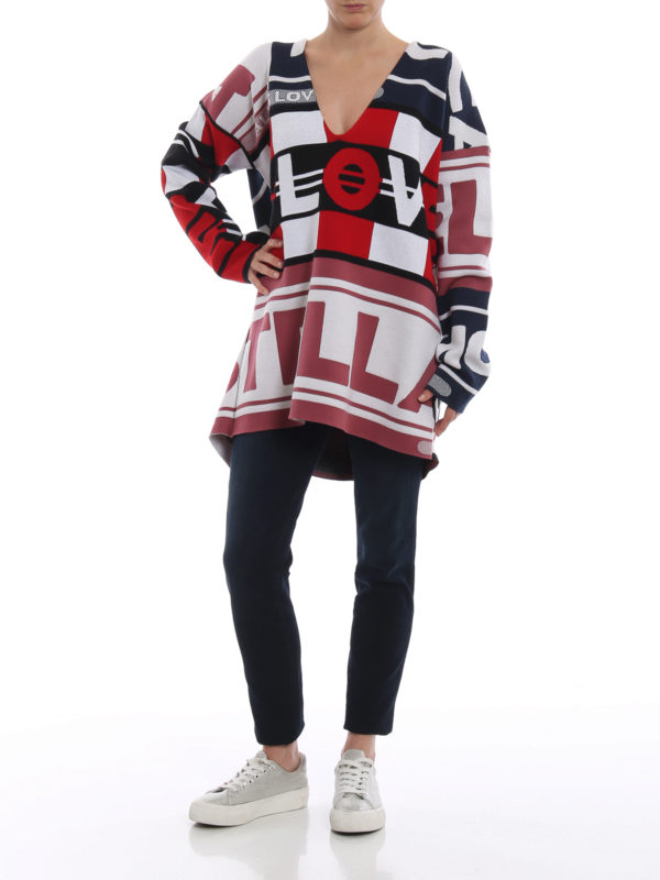 STELLA McCARTNEY: Strickpullover mit V-Ausschnitt online - V-Pullover - Bunt