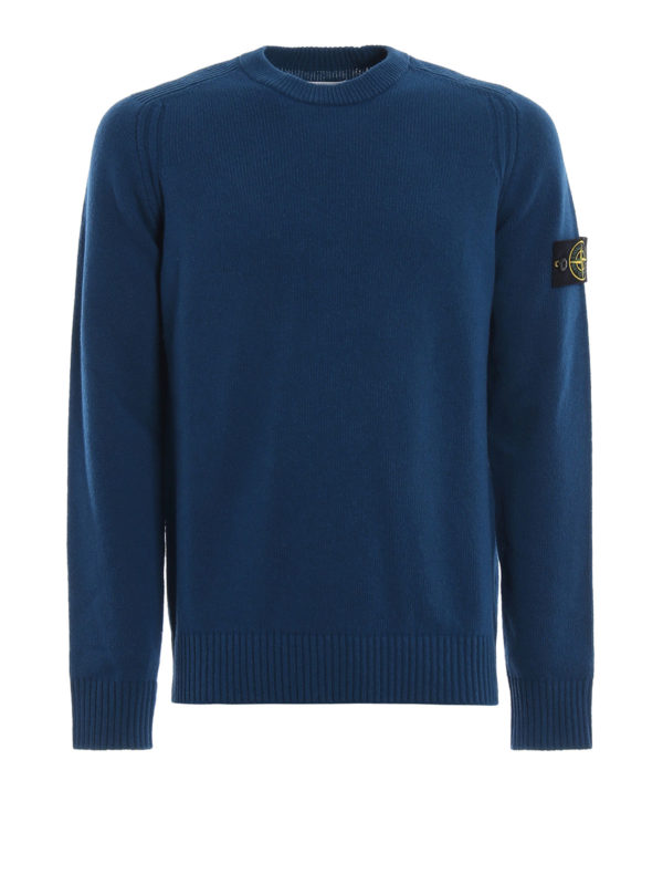 STONE ISLAND: crew necks - Blue green knit wool blend sweater