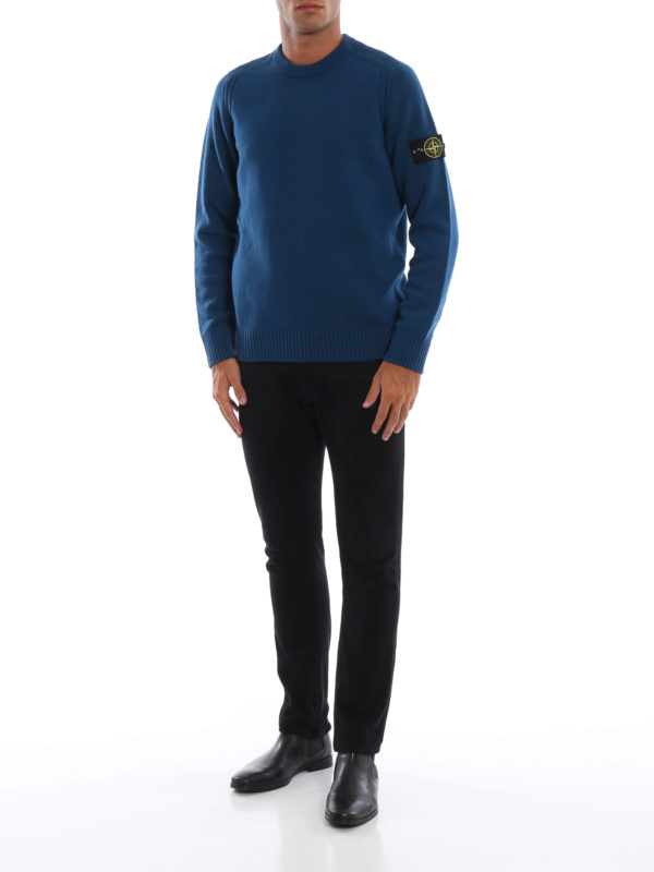 STONE ISLAND: crew necks online - Blue green knit wool blend sweater