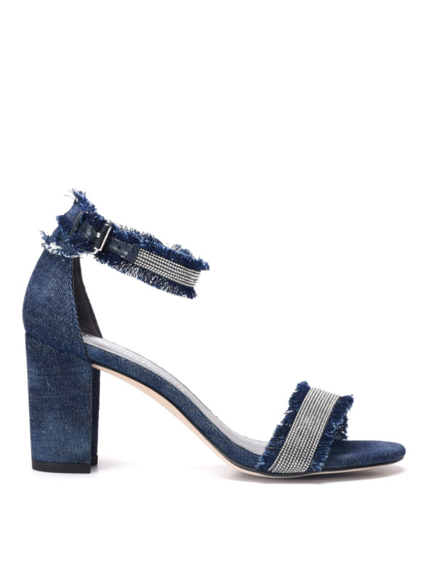 Stuart Weitzman: sandals - Chaingang embellished denim sandals