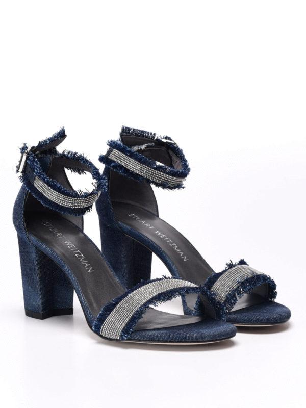 Stuart Weitzman: sandals online - Chaingang embellished denim sandals
