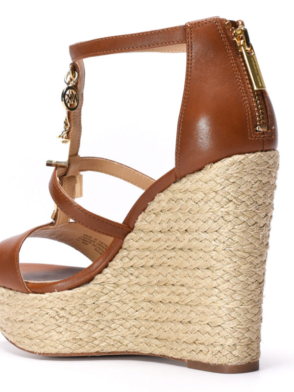 Suki wedge leather sandals shop online: Michael Kors