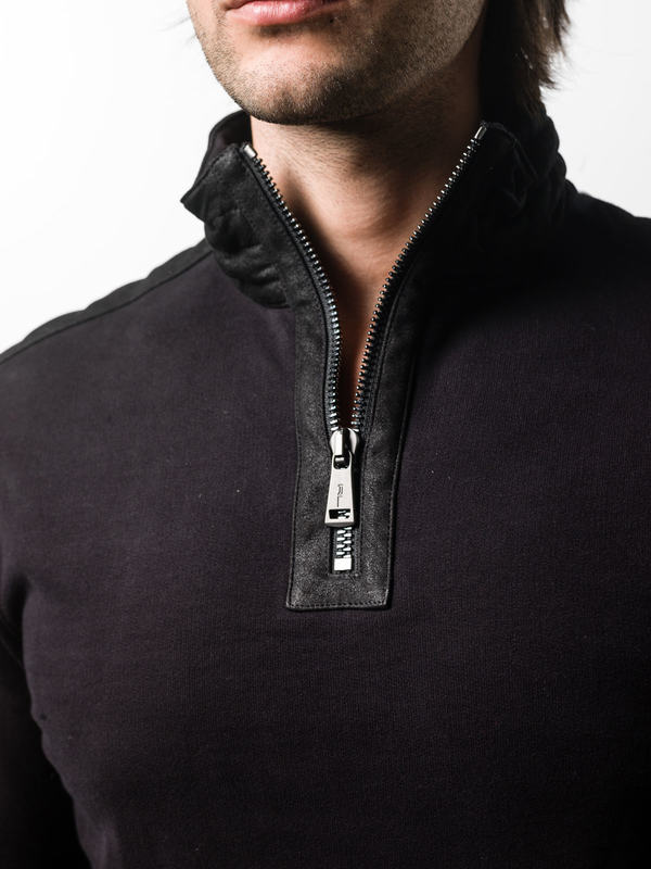 Sweatshirt with leather details shop online: Ralph Lauren Black Label