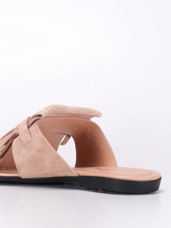 Thong fringed flat sandals shop online: Tod