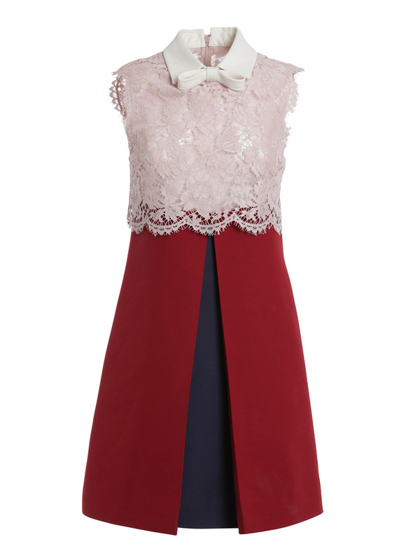 Crepe And Heavy Lace Dress By Valentino Cocktail Dresses