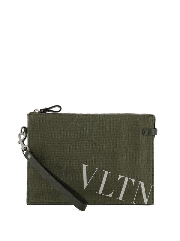 VALENTINO GARAVANI: clutches - VLTN army green canvas pouch