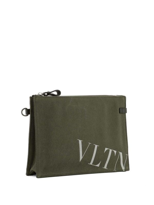VALENTINO GARAVANI: clutches online - VLTN army green canvas pouch