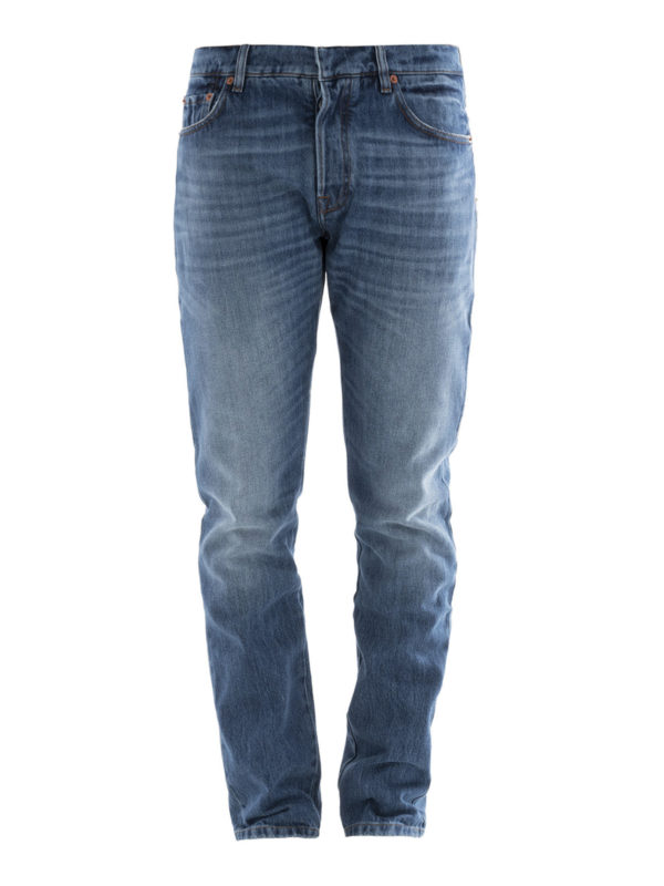 Valentino: Straight Leg Jeans - Straight Leg Jeans - Light Wash