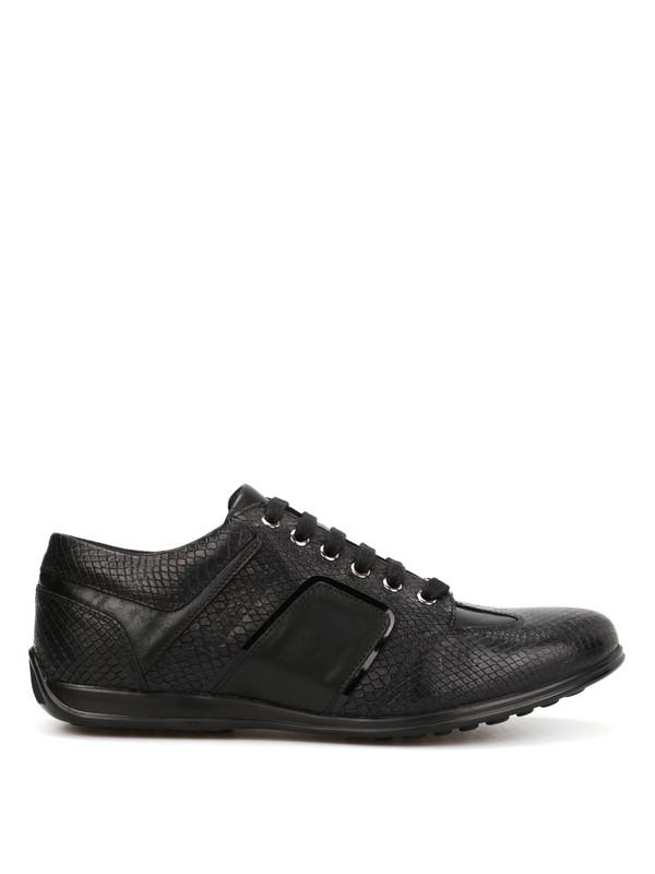 Versace Collection: Sneaker online - Ledersportschuhe mit Python-Print