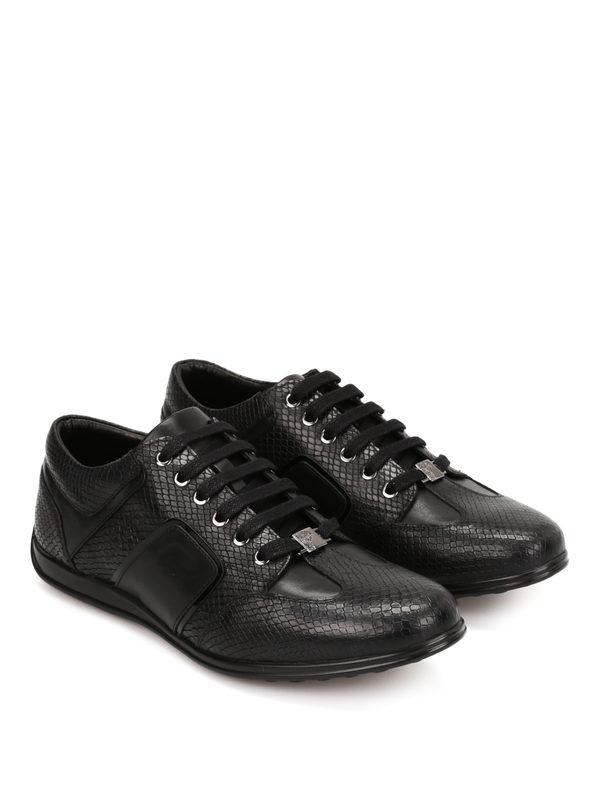 Versace Collection: Sneaker - Ledersportschuhe mit Python-Print