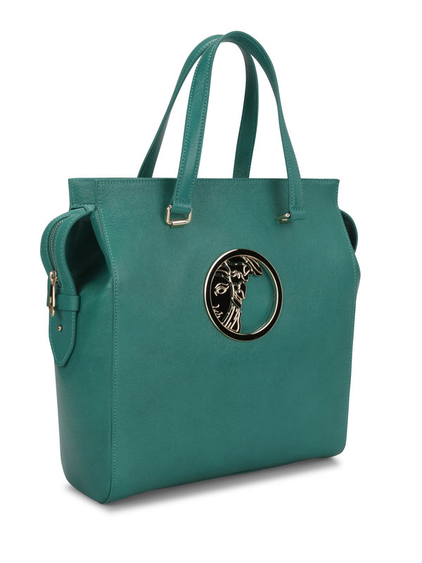 VERSACE: totes bags online - Leather tote with logo plaque