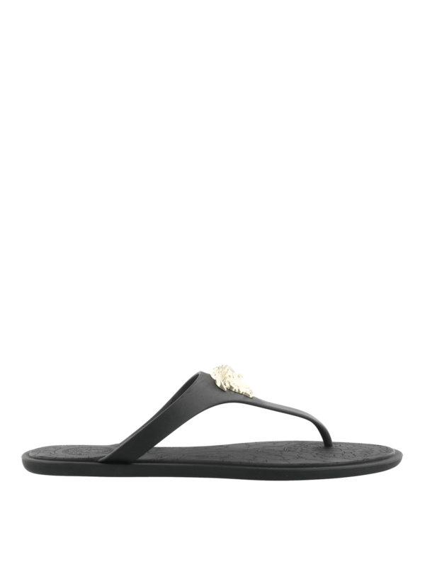 Medusa Palazzo black thong sandals