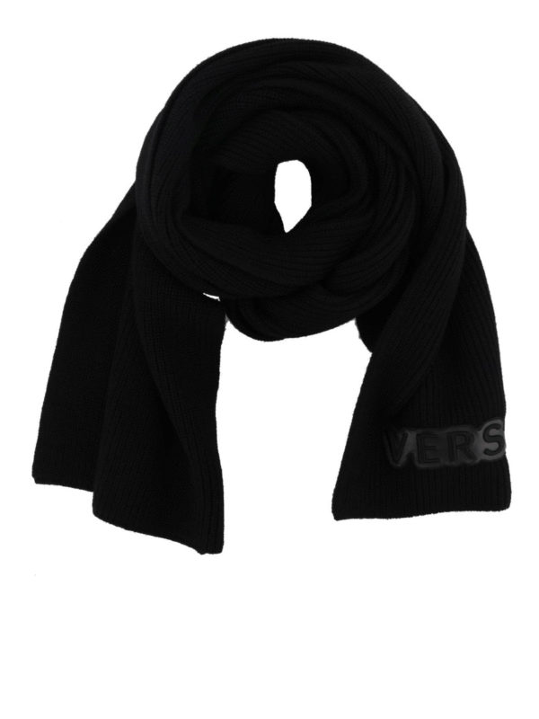VERSACE: scarves - Versace patch ribbed wool scarf