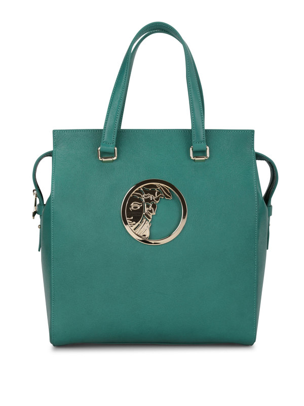 Versace: totes bags - Leather tote with logo plaque