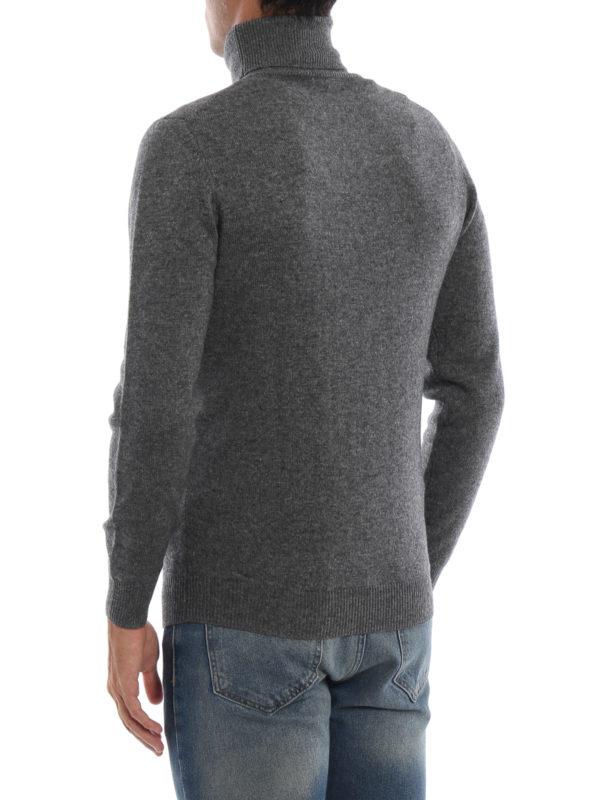 Yak and cashmere blend grey turtleneck shop online: ASPESI