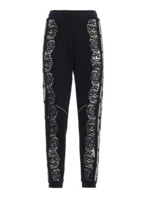 ADIDAS BY STELLA MCCARTNEY: pantaloni sport - Pantaloni da jogging neri con pizzo e tulle