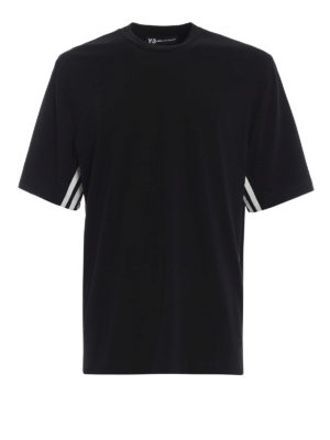 ADIDAS Y-3: t-shirt - T-shirt in jersey nero 3-Stripes Tee