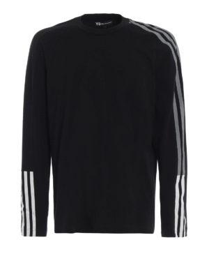 ADIDAS Y-3: t-shirt - T-shirt a maniche lunghe 3-Stripes Tee