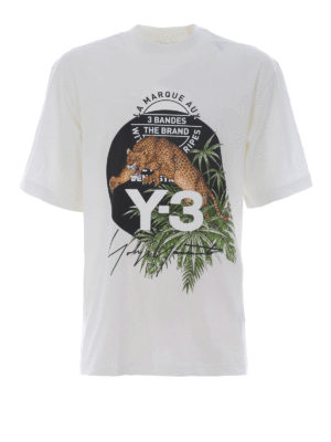 Adidas Y-3: t-shirts - Leopard white cotton Tee