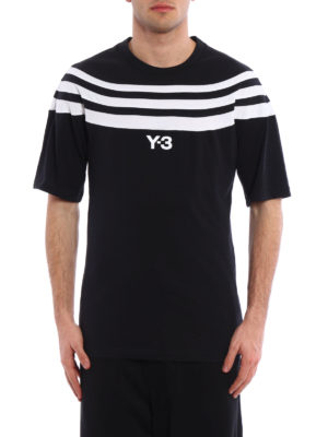 Adidas Y-3: t-shirts online - Striped panelled T-shirt