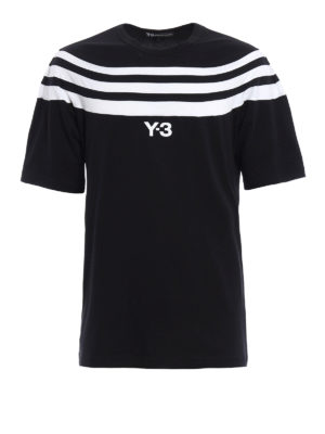 Adidas Y-3: t-shirts - Striped panelled T-shirt