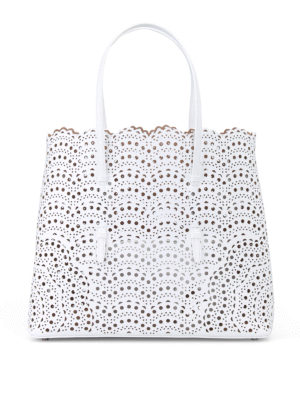 Alaïa: totes bags - New Vienne optic white leather tote