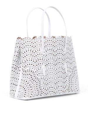 Alaïa: totes bags online - New Vienne optic white leather tote