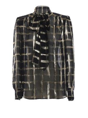 ALBERTA FERRETTI: bluse - Blusa in chiffon di seta a quadri dorati