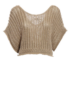 Alberta Ferretti: blouses - Knitted linen and lurex crop blouse
