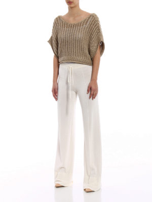 Alberta Ferretti: blouses online - Knitted linen and lurex crop blouse