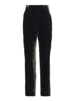 ALBERTA FERRETTI: pantaloni casual - Pantaloni a vita alta in velluto con pinces