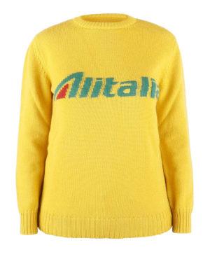 ALBERTA FERRETTI  maglia collo rotondo - Pullover giallo con intarsio logo  Alitalia afe9d4b767b9