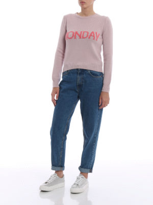 Alberta Ferretti: crew necks online - Rainbow Week Monday pink sweater