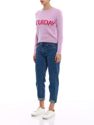 Alberta Ferretti: crew necks online - Rainbow Week Saturday lilac sweater